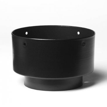 Matt Black Vitreous Enamel 125mm Diameter Economy Adaptor To 150mm Diameter Flexible Liner