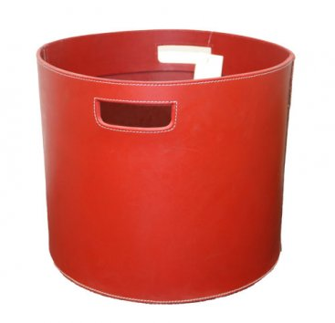 Red Round Leather Log Holder